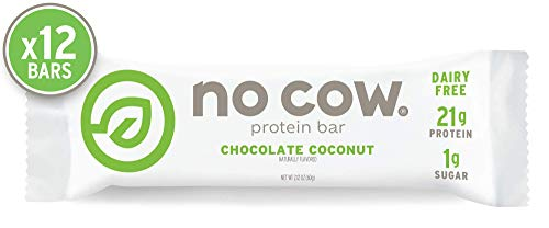 No Cow Protein Bar Chocolate Coconut, Plant Based Protein (21g), Keto Friendly, Low Sugar, Dairy Free, Gluten Free, Vegan, High Fiber, Non-GMO, 12 Count ()