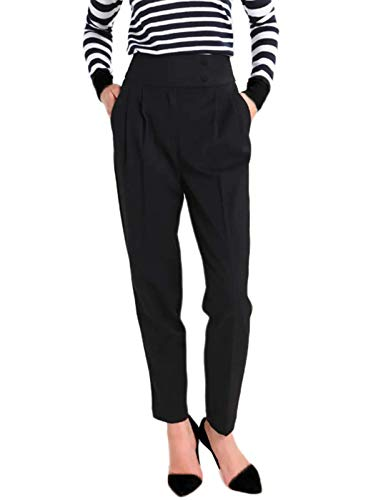 (GRACE KARIN Womens Loose Office Dress Pants Relaxed Fit All Day Pant Trouser Black S)