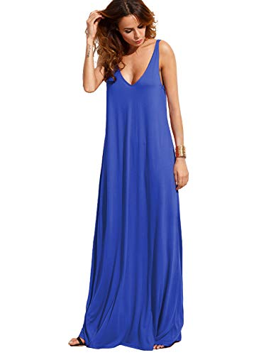 Verdusa Women's Casual Sleeveless Deep V Neck Knitted Shift Sexy Maxi Long Dress Blue XL (Long Sheer Maxi Dress)