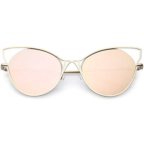 sunglassLA - Oversize Cat Eye Sunglasses Semi Rimless Metal Cut Out Mirrored Flat Lens 60mm (Gold/Pink ()