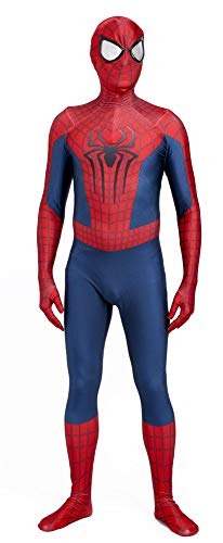 The Amazing Spiderman 2 Halloween Cosplay Spandex Spider-Man Superhero Costume (Male-Medium) Red, Blue