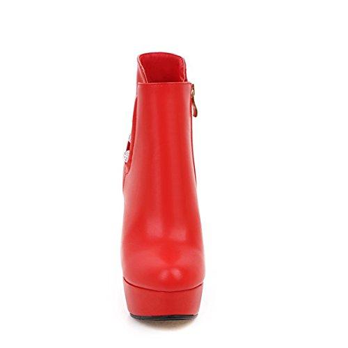 Bout Pointu Rouge Fermeture Hiver Avec Pour Talons À Eclair Et Femmes Elegantes Aiguilles Uh Perles Plateforme Bottines wFz6aqnzTv