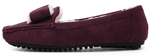 Flat DolphinGirl Shoes Women's Wear Fall Winter Plush Burgundy 4EwBvqB