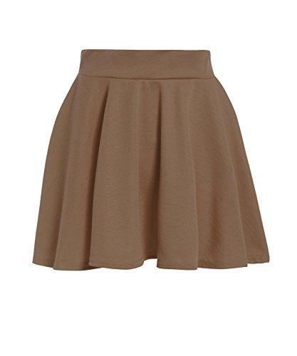 GUBA® Girls Children Back to School High Waisted Stretch Plain Flippy Flared Short Skater Skirts Size 5-13 Years (Mocha, 7-8 Years)