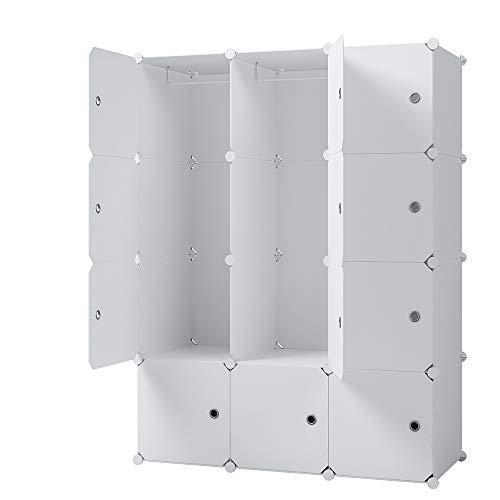 KOUSI Portable Closets Portable Clothes Closet Wardrobe Bedroom Armoire Dresser Bedroom Dresser Cube Storage Organizer, Capaciou Customizable, White, 6 Cubes 2 Hanging Clothes