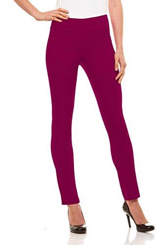 Velucci Womens Straight Leg Dress Pants - Stretch Slim Fit Pull On Style, - Slacks Stretch Pants Cropped