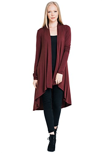 Women's Extra Soft Natural Bamboo Long Open Front Cardigan (S – 5XL) – Made in USA (5X-Large, Burgundy)
