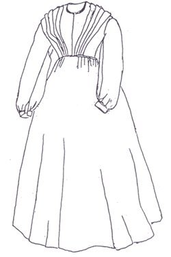 1859 Modified Fan Front Dress Pattern (Large- 18-22) (Dress Pattern Front)