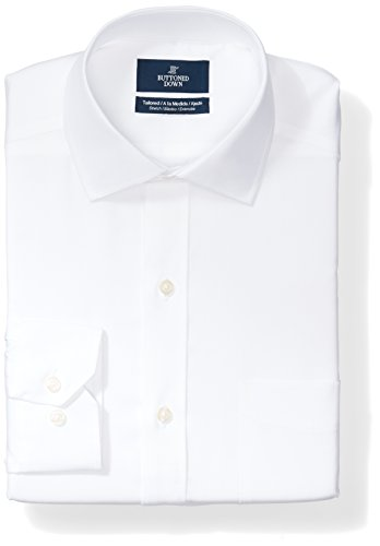 Buttoned Down Men's Tailored Fit Stretch Non-Iron Dress Shirt, White, 16.5