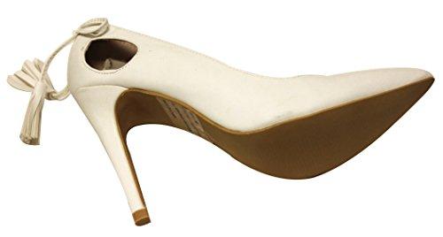 C Label Liberty-19 Vrouwen Puntige Teen Stiletto Slip Op Holle Boog Knoop Terug Pompen Schoenen Wit