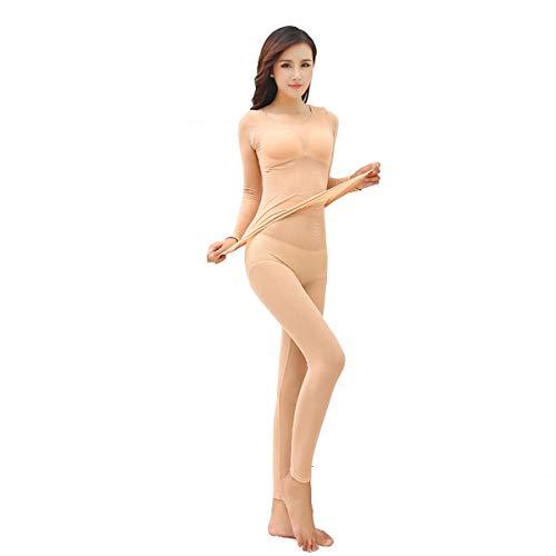 Women's Seamless Ultra Soft Seamless Lightweight Underwear Bottoming Set Skin Color