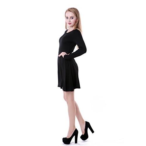 HDE Women s Casual Cotton Jersey Knit Long Sleeve Slip-On Mini Skater Dress  durable modeling 886eb8a74