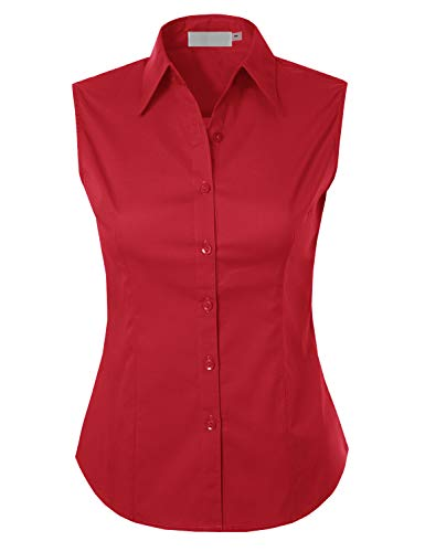 MAYSIX APPAREL Plus Size Womens Sleeveless Stretchy Button Down Collar Office Formal Shirt Blouse RED 3XL