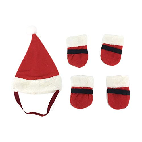 Pet Supply - Christmas Holiday Costume Pet Cat Dog Hat Red Shoes Small Animals Clothes Set Winter Dog Accessories