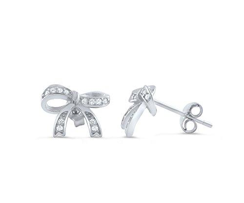 Sterling Silver Cz Ribbon Bow Stud Earrings - - Earrings Silver Ribbon