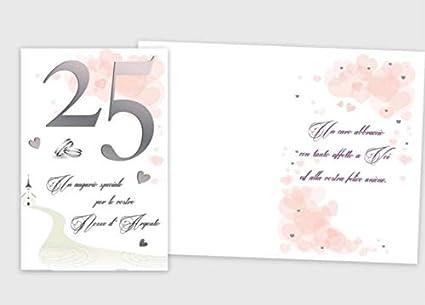25 Matrimonio Anniversario.Biglietto Di Auguri Augurale Di 25 Anniversario Completo Di