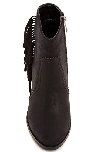 Bucco Maryana Womens Fashion Faux Fur-Lined Fringe Booties Black 5ubdfdlav