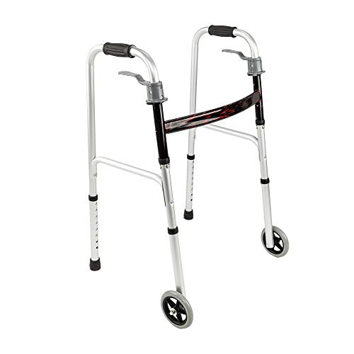 Mefeir Easy Folding Rolling Walker w/Trigger Release&Front Wheels-Safety Mobility Aid for Adult, Senior, Elderly&Handicap, Lightweight, Portable, Adjustable Height, Ultra Convenient, Silver&Gray by Mefeir