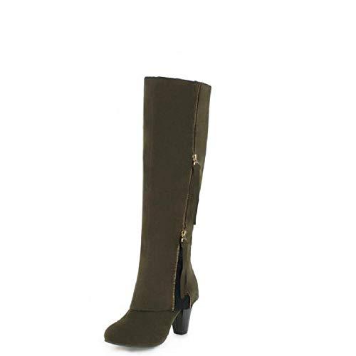 Gaslinyuan Women Elegant Boots Zipper Lace Large Size Block Knee High Shoes (Color : Green, Size : UK 6.5)