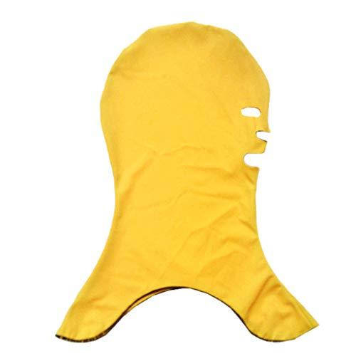 CapsA Snorkeling Swim Cap for Women Men Sunscreen UV Protection Solid Mask Facekini Sunblock (Yellow)