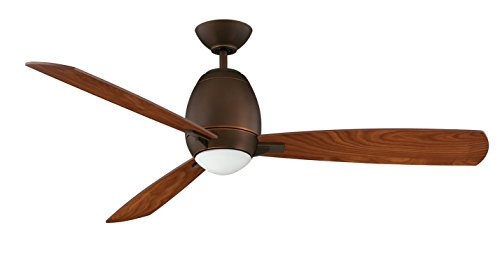 Kendal Lighting AC18952-ARB   Quattro 52-Inch 3-Blade 1 Light Ceiling Fan, Architectural Bronze Finish with Elmwood Blades and Opal White Glass Light Kit
