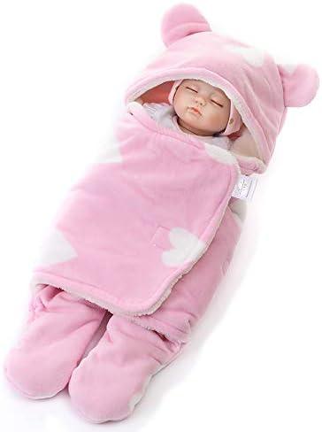 Asiso おくるみ 赤ちゃん ベビー 裏起毛 防寒 新生児 冬 退院 出産祝い ギフト (S, ピンク(ハート柄))