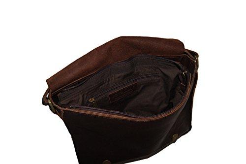 Sac en bandoulière pour homme en cuir marron Rowallan, fermeture à deux boucles + portefeuille assorti. Idéal pour transporter vos objets hi-tech en toute sécurité