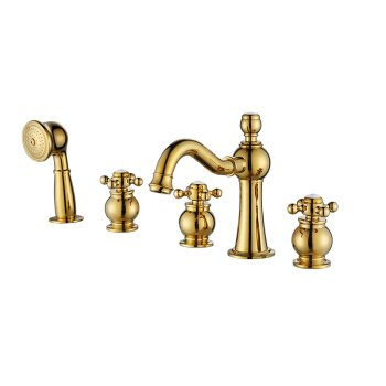 Hlluya Sink Mixer Tap Kitchen Faucet The Brass Bath Faucet Skirt 35 Degree Slope to The Bend of The Five-Piece Bathtub Mixer Swing Head can be rotated Out of Custom-Made Brass Gold Plated ()