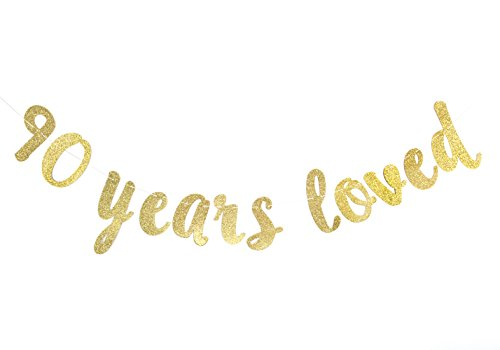 90 Years Loved Banner - Happy 90th Birthday/Wedding Anniversary Party Decorations]()