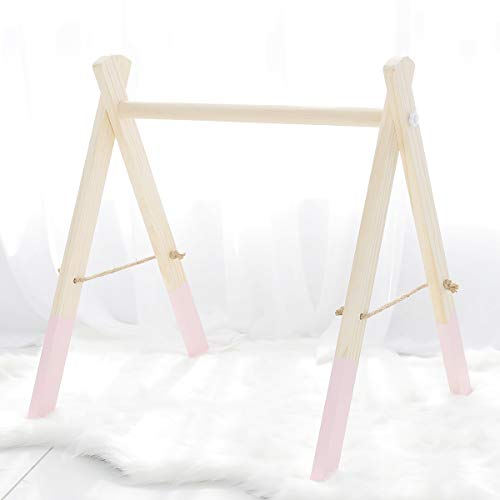 (Wooden Baby Gym Frame Pink Foldable Play Gym Toys Hanging Natural Non-Toxic Hanging Bar)