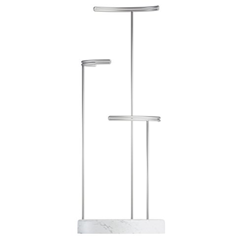 Stand – Necklace Stand, Earring Holder, Bracelet Holder, and Jewelry Organizer, Nickel/Marble ()