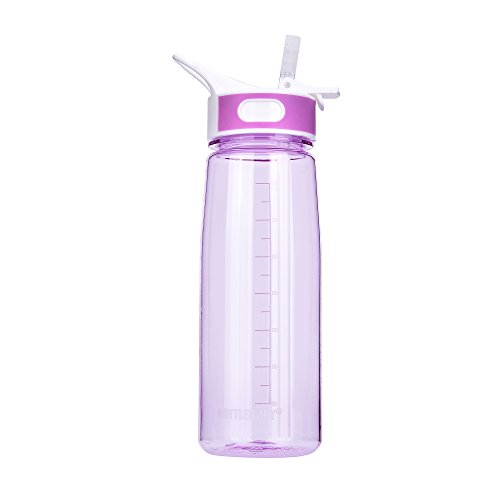 BPA-Free Tritan Sport water bottle, BOTTLED JOY Wide Mouth 27oz 800ml Spill Proof Sip & Handle Leak Proof bottles Purple