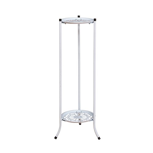 CSQ White Wrought Iron Double Flower Stand, Plant Stand Flower Pot Holder Thick Material Hollow Living Room Bedroom Dining Room Office (Color : #1, Size : 2878cm) by Flowers and friends