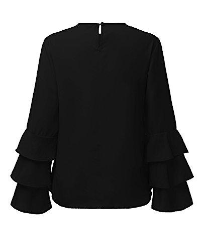 Blusa Camiseta Negro Volantes Styledome Casual Elegante Lunares Oficina Noche 1 Largas Mujer Mangas 47qqYxI5Rw