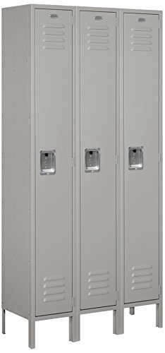 Salsbury Industries 61362GY-U Single Tier 36-Inch Wide 6-Feet High 12-Inch Deep Unassembled Standard Metal Locker, Gray