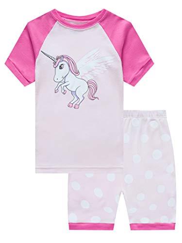 Girls Pyjama Set - Unicorn Big Girls Short Sleeve Pajama Sets for Kids 100% Cotton Pjs Size 8