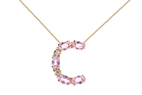 (Albert Hern Pink Sapphire Necklace with Diamonds & 18K Gold Chain   Irresistible Sapphire Letter C Pendant Jewelry   Perfect Valentine's Day, Anniversary & Birthday Gift)