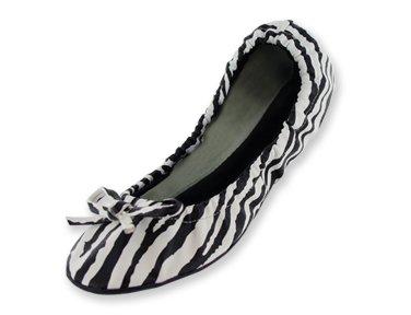 Scarpe Piatte Da Balletto Pieghevoli Con Stampa Zebra