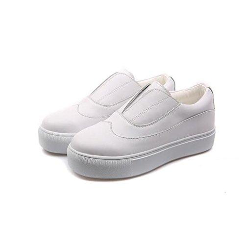 de Zapatos Baja de de Inferiores Inferior Mujer Moda la Casuales Zapatos de Parte Zapatos la Mujeres Color Las Mocasines Cuero Un de Sólido de Gruesa la de los la de Boca wnXnqPC1