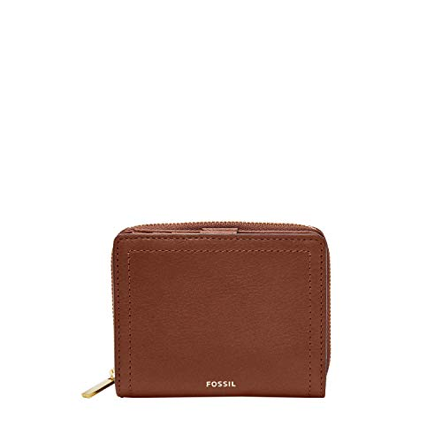 Fossil Women's Logan Mini Brown Leather Multifunction Wallet