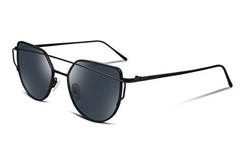FEISEDY Cat Eye Women Sunglasses Metal Frame Plain HD UV400 Lens - For Sunglasses Eye Round Face Cat