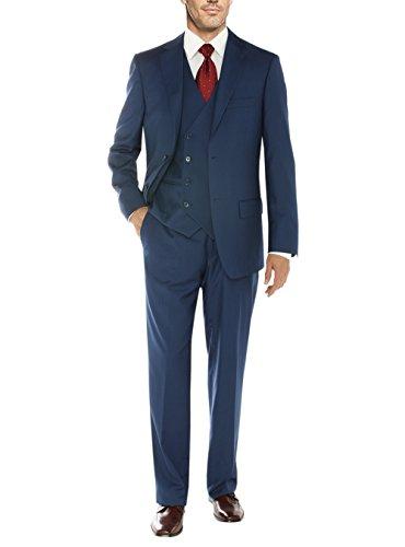 Button Four Suit Button Three - Salvatore Exte Mens Suit Vested Three Piece Blazer Jacket Dress Vest Plus Pants (44 Short US / 54S EU/W 38
