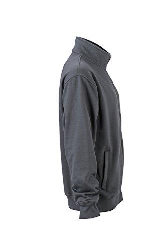 James & Nicholson–Workwear Sweat Jacket Felpe, Uomo, Workwear Sweat Jacket, nero, XXXL
