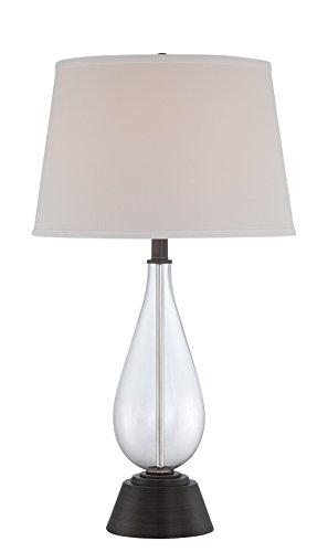 "Lite Source LS-22676 Pello Table Lamp, 29"" x 16"" x 16"", Dark Bronze, Clear, Off-White"