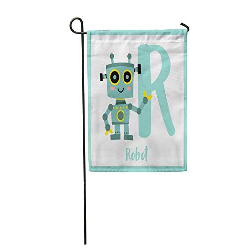 Semtomn Garden Flag Cute Children ABC Alphabet R Letter Flashcard of Robot 28