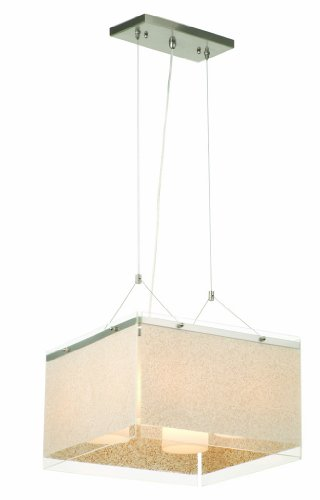 Forecast Lighting F1930-36 Pacifica Four-Light Pendant with Sand on Clear Glass Side Panels, Satin Nickel
