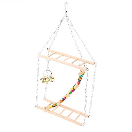HEEPDD Bird Toys, Parrot Hanging Swing Ladder Colorful Chewing Swing Toy with Bell Cage Decorative Accessories for Small…
