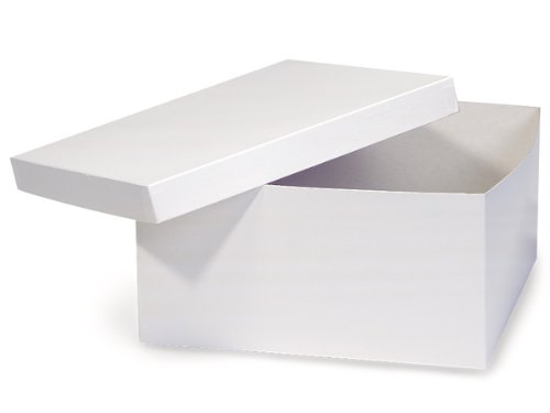 Pack of 50, White Gloss Hi-Wall 12 x 12 x 6'' 100% Recycled Giftware Box Base Use Food Safe Barrier Like Food Grade Tissue or Cello for Food Packaging(Lids Sold Separately) by Generic