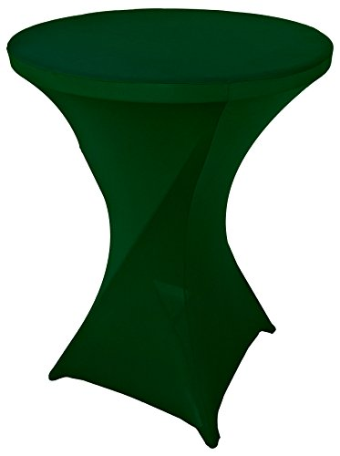 Goldstream Point Hunter Green 32 Inch Round x 43 Inch Tall Spandex Cocktail Tablecloth Folding Cover Stretch