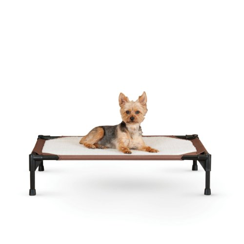 Cheap K&H Pet Products Self-Warming Pet Cot Elevated Pet Bed Medium Chocolate/Fleece 25″ x 32″ x 7″